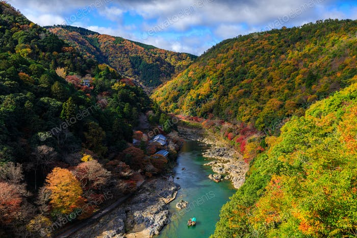 Hozu River in autumn view from Arashiyama view point, Kyoto, Japan