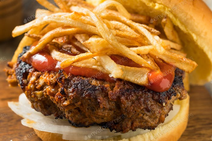 Homemade Cuban Fritas Hamburger