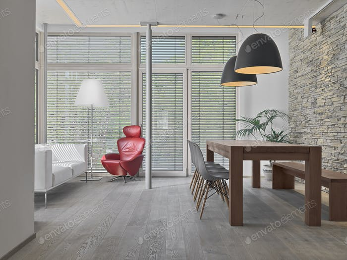 Modern Living Room with Parquet Floor, Dining Table, a Sofa and a Red Armchair