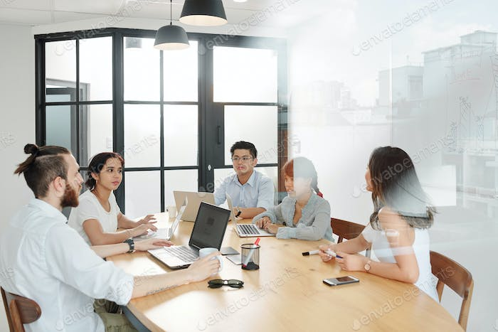 Business people working at board room