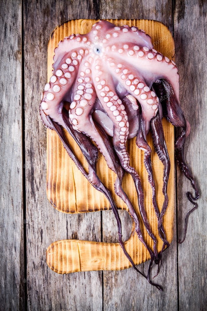 whole fresh raw octopus on cutting board