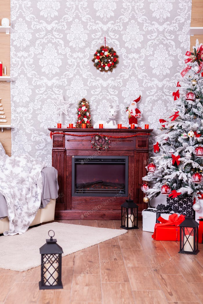 Beautiful Christmas living room with decorated Christmas tree