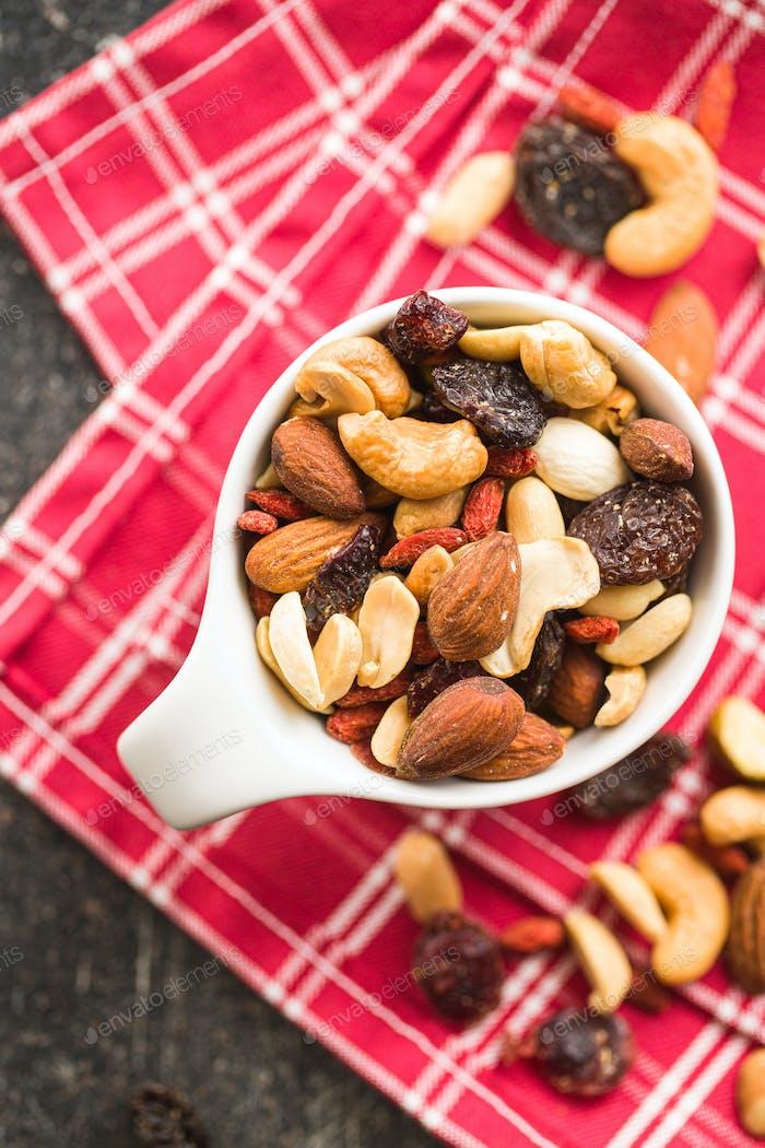 Mix of various nuts and raisins