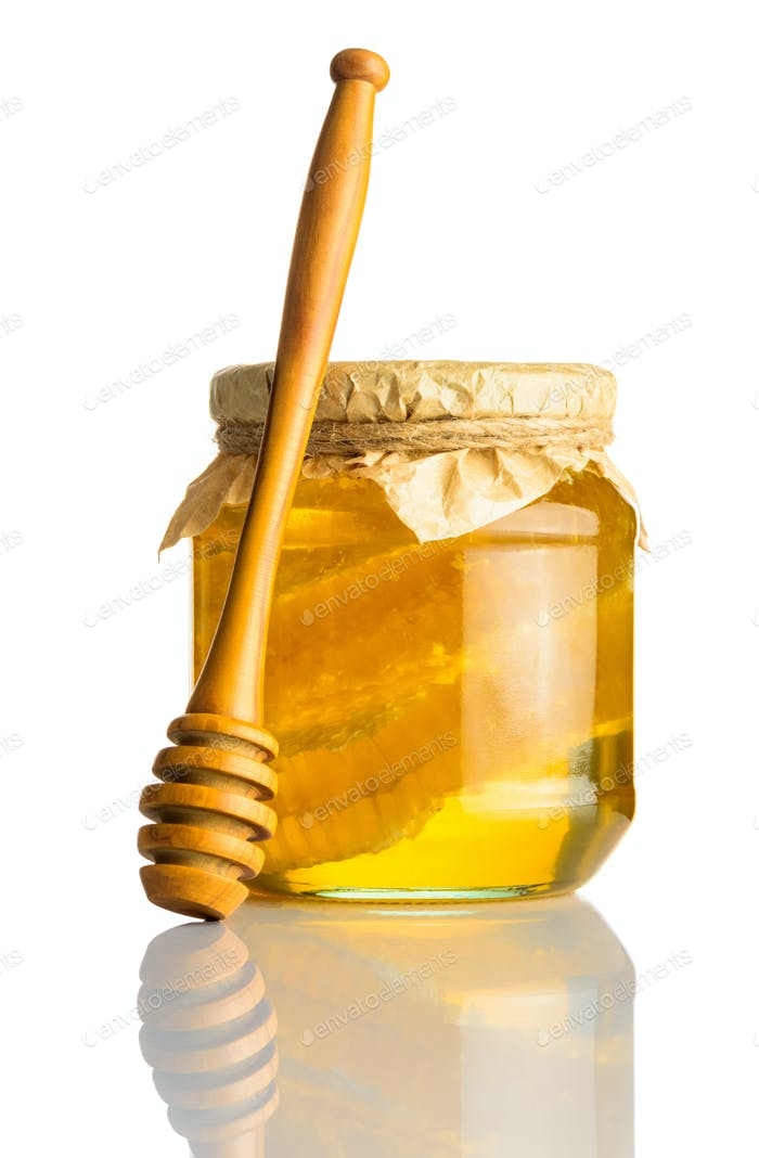 Honey Jar with Comb and Dipper on White