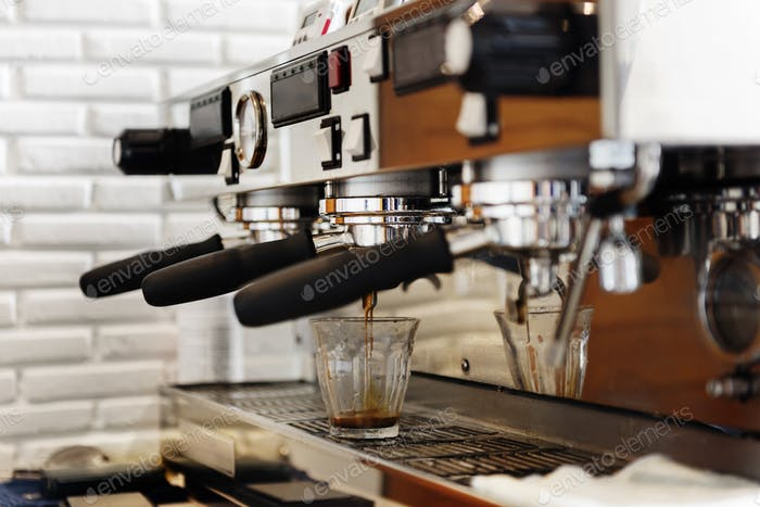 Portafilter Cafe Coffee Restaurant Prepare Machine Concept