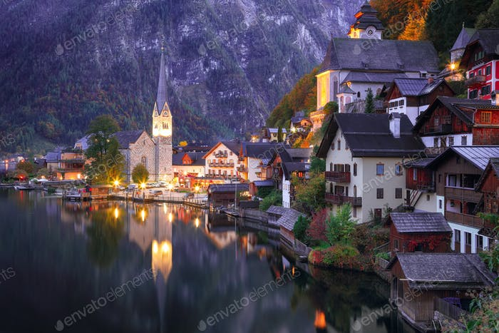 famous Hallstatt lakeside town reflecting in Hallstattersee lake in the Austrian Alps