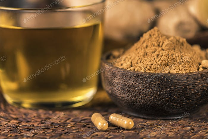 Herbal Ginger Supplement Capsules, Ginger Powder and Tea