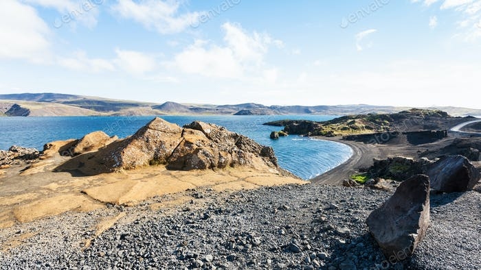 volcanic beach of Kleifarvatn lake in Iceland