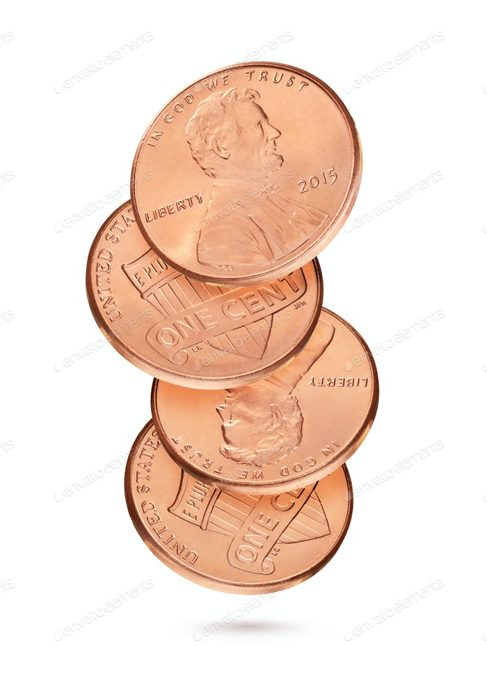 Coin stack with penny or one US cents isolated in white