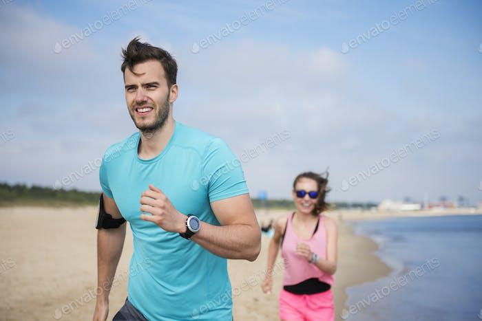 Morning cardio on the beach