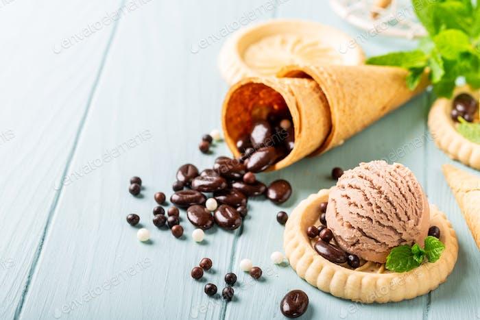 Homemade coffee and chocolate ice cream