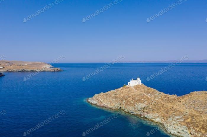 Aerial view of Kea Tzia island lighthouse, Cyclades, Greece.