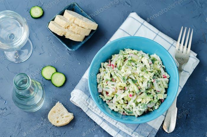 Cabbage radish cucumber dill salad with greek yogurt dressing
