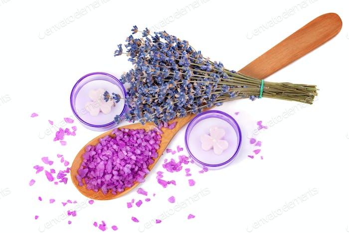Sprigs of lavender, sea salt, candles.