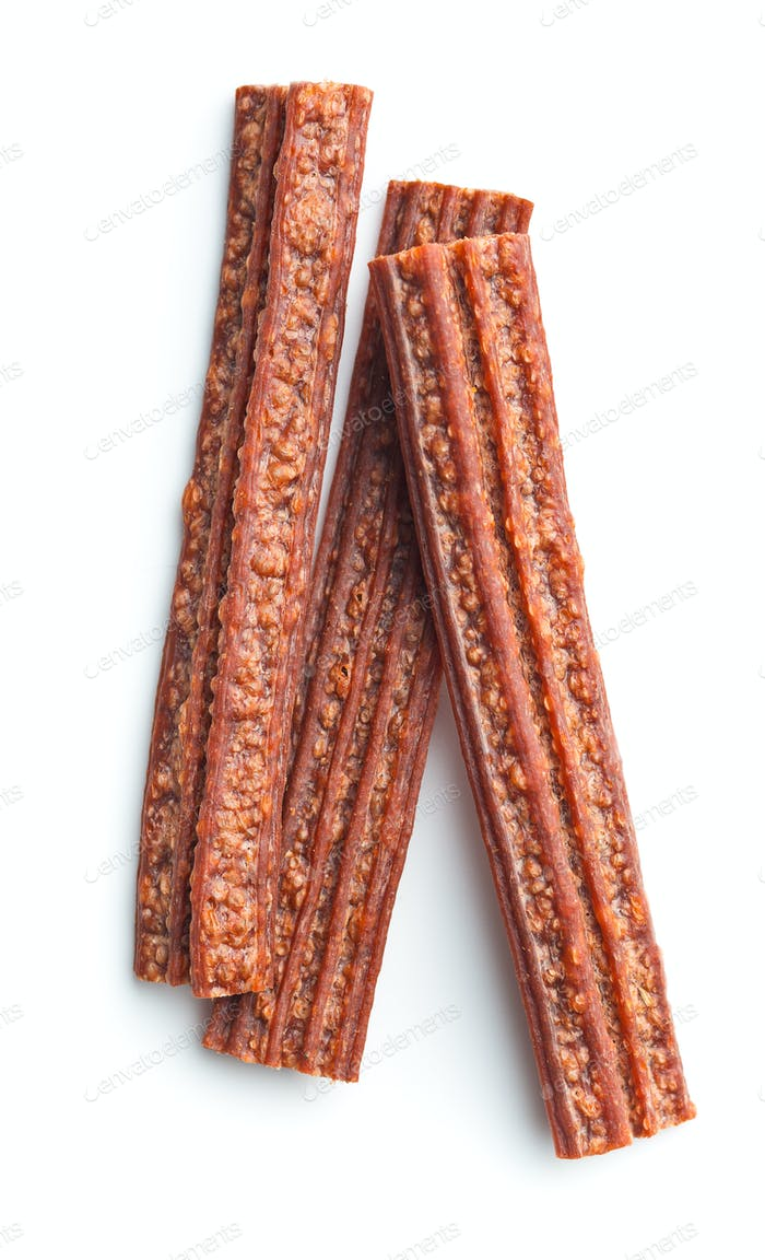 Dog chew snack sticks.