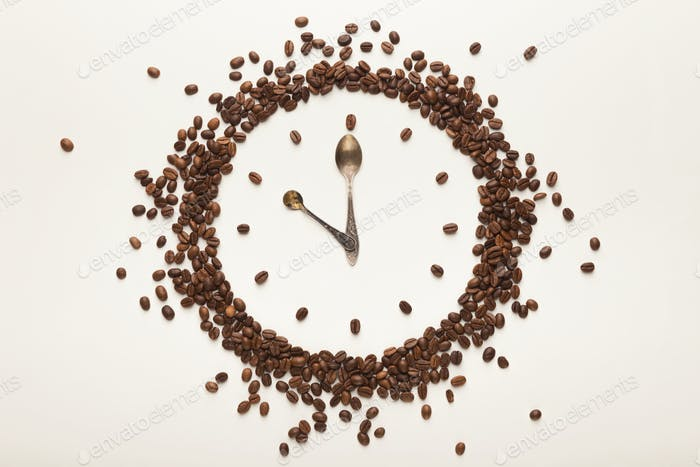Background with drawn clock, coffee break time