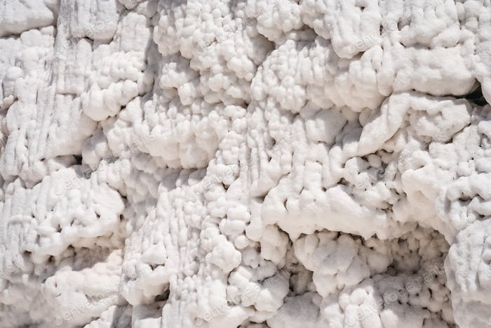 Close up of a salt accumulating on the mountain slopes