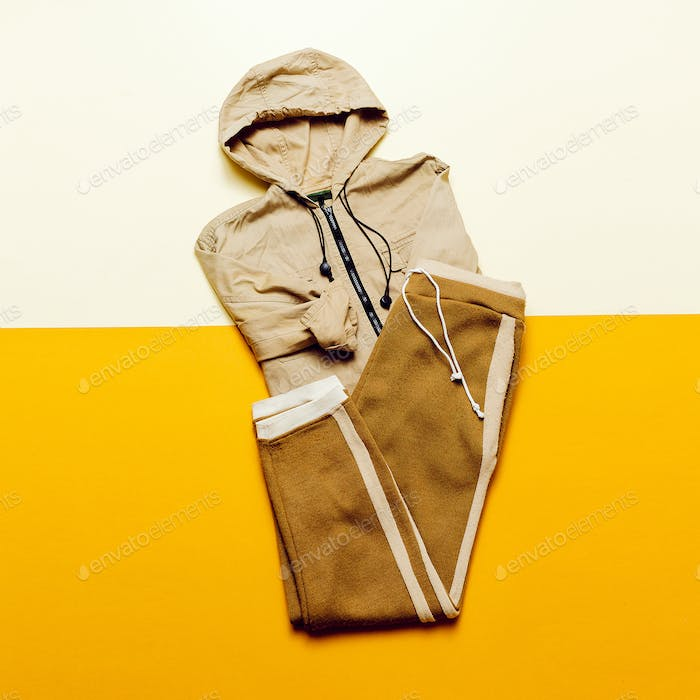 Urban Style Clothing. Skateboard fashion outfit. beige color tre