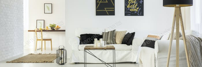 Couch in modern loft apartment