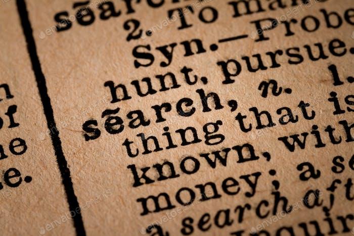 Nahaufnahme eines geöffneten Wörterbuchs mit der Wortsuche