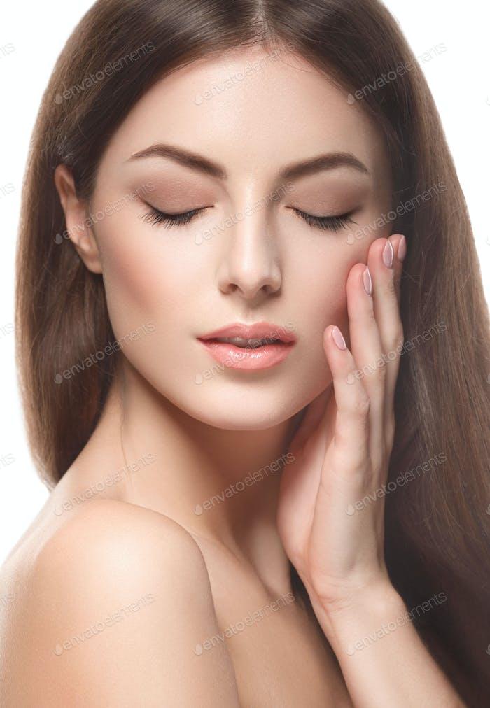 Young beautiful woman natural make up