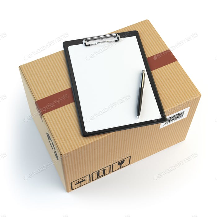 Delivery concept. Cardbox, pen and clipboard with receiving form