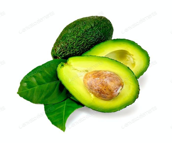 Avocado with leaf is cut