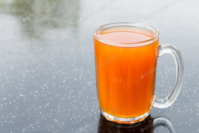 Hot brewed tea in glass