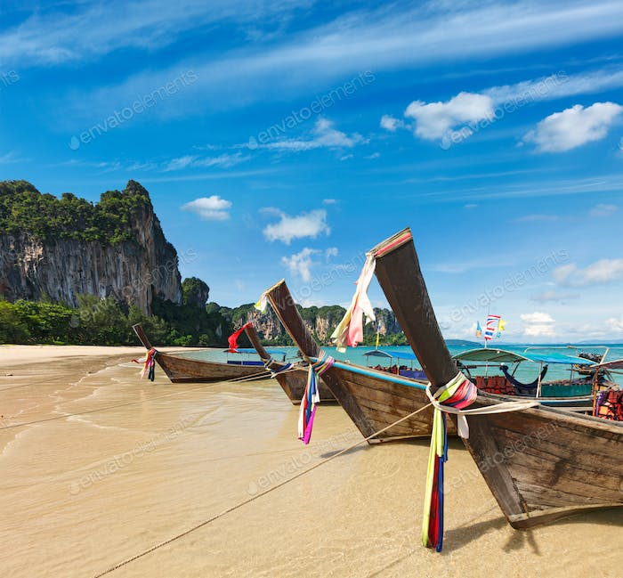 Long tail boats on beach, Thailand