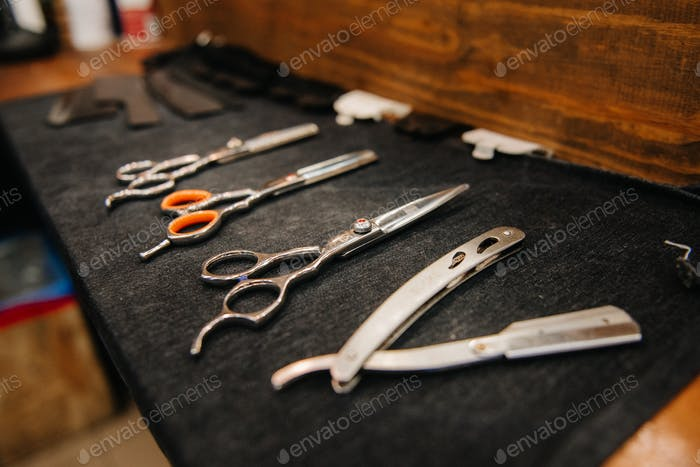 the tools of a Barber on the desktop