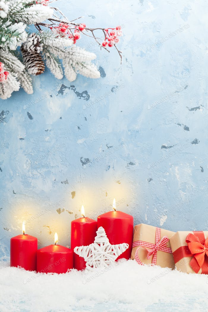 Christmas candles, gifts and fir tree