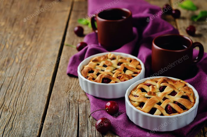 Cherry pies with fresh cherries
