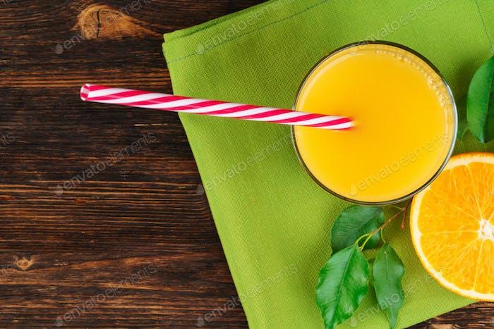Still life of orange juice close up