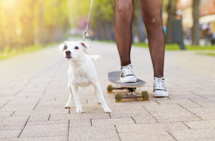 Teenager-Mädchen mit Skateboard und Hund