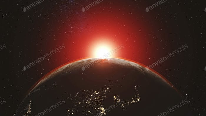 Earth orbit planet skyline flare sun beam glow