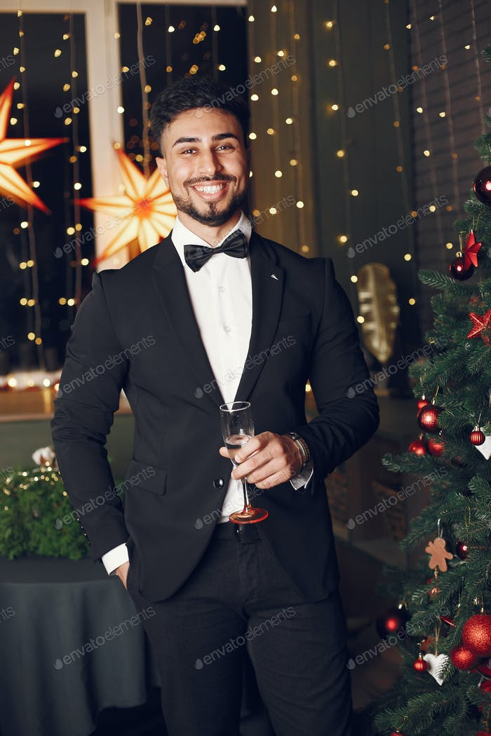 Man in a christmass decorations