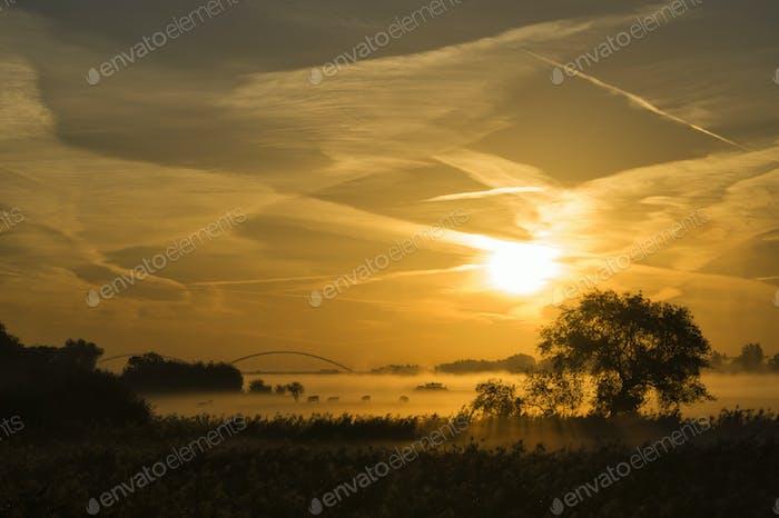 Sonnenaufgang über dem Fluss Merwede bei Boven-Hardinxveld in der niederländischen Region Alblasserwaard