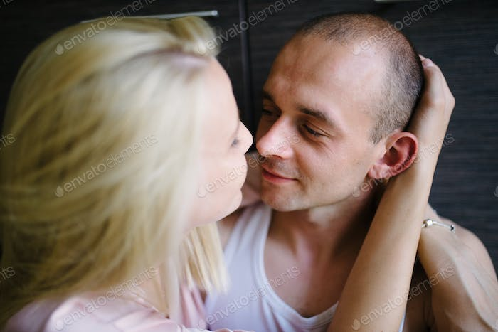 Sensual couple kiss. I Love You. Couple In Love. Romantic and love.