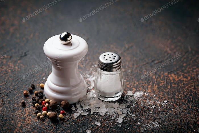 Salt and pepper. Culinary background