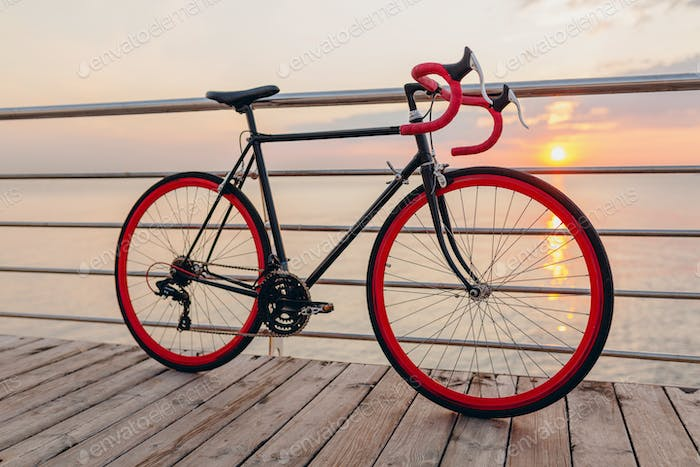hipster bicycle at sunset sea