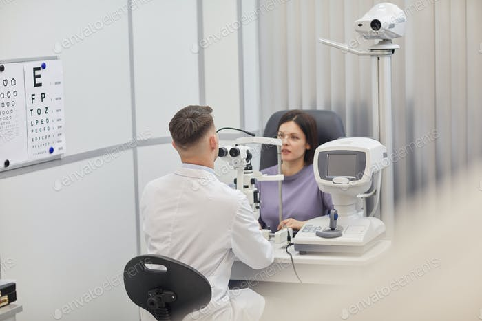 Young Woman in Opthalmologist Office