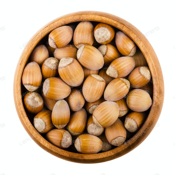 Unshelled common hazelnuts in a bowl over white