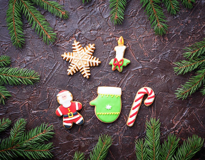Christmas gingerbread cookies. Festive background