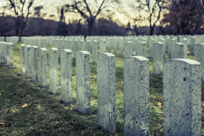 Back of Army Headstone and Graveyard Cemetery during a Sad Day o