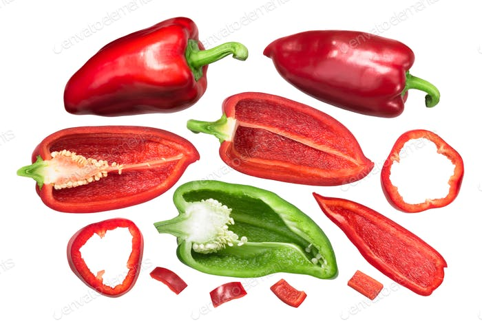 Bell peppers Grueso de Plaza, whole and cut, top