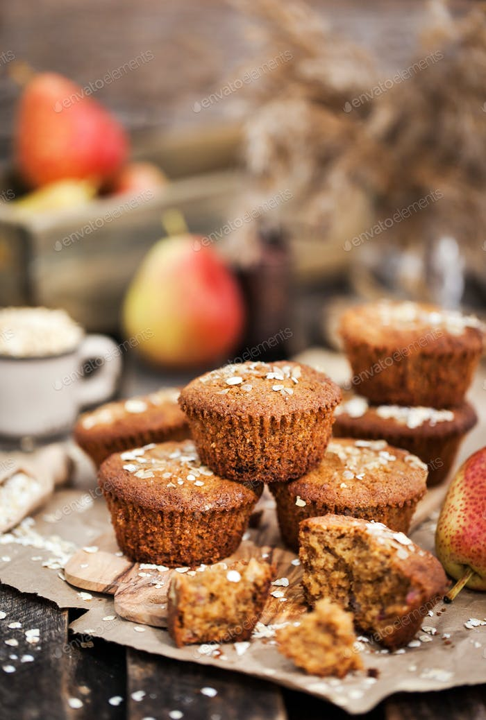 Fresh homemade delicious oat and wholegrain muffins