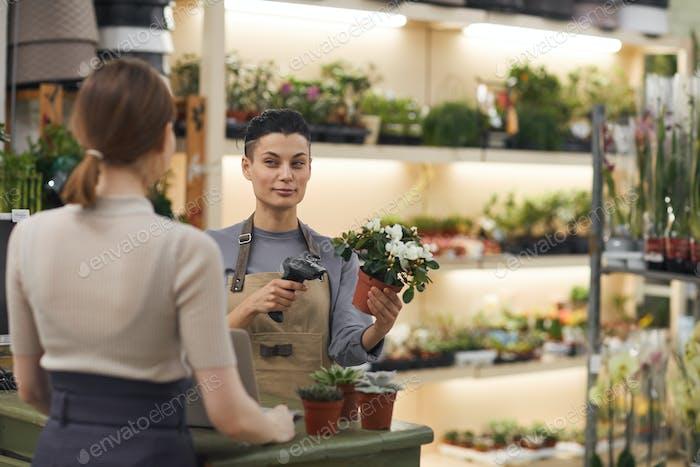 Mujer vendiendo flores en la tienda