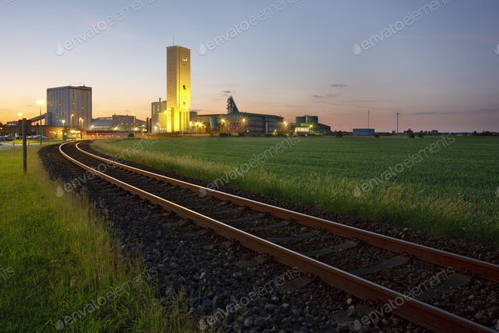Railroad Track To Salt Mine At Dusk