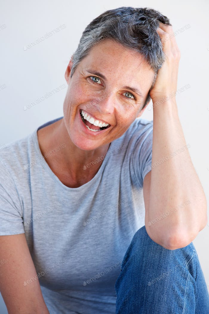 beautiful relaxed older woman laughing