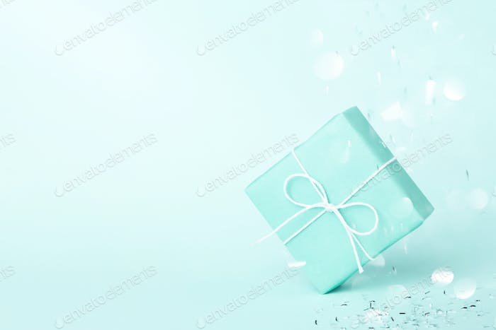 Turquoise Gift Box With Silver Sparkles.